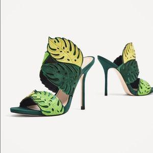 85c8adb25612 Zara Shoes - Zara Leather green leaf wrap high heel sandal